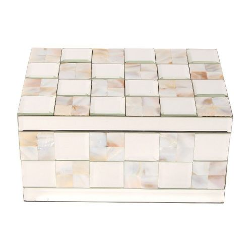 Mother Of Pearl & Mirrored Glass Large Luxury Jewellery Box